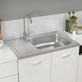 vidaXL Diskho med avrinningsyta silver 800x500x155 mm rostfritt stål