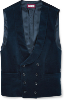 Slim-fit Shawl-collar Double-breasted Cotton-velvet Waistcoat - Navy