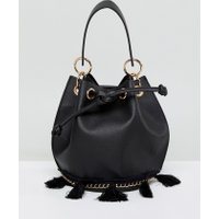 French Connection Bucket Bag With Tassel Detail And Hardware - Black