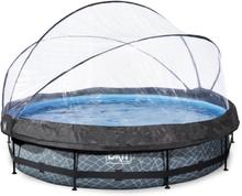 EXIT Stone pool ø360x76cm med filterpumpe - grå med dome