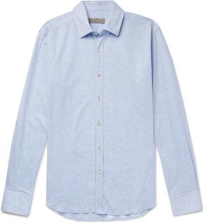Mélange Cotton-piqué Shirt - Blue
