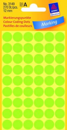 Etiket Avery neon grøn Ø12mm 3149 270stk/pak