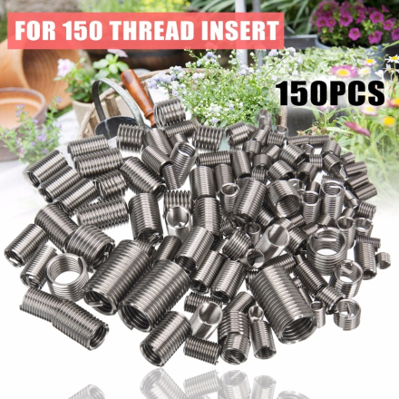 150pcs Stainless Steel M3 M4 M5 M6 M8 Thread Repair Insert Kit Set Helicoil Hardware Repair Tools Mayitr
