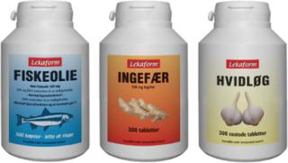 Lekaform 3-produktpakke: fiskeolie 300 stk, ingefær 300 stk, hvidløg 300 stk
