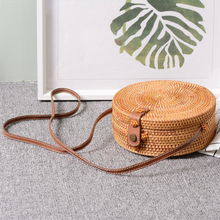 Bali Vintage Handmade Crossbody Leather Bag Round Beach Bag Girls Circle Rattan bag Small Bohemian Shoulder bag