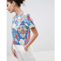 ASOS DESIGN - Mönstrad T-shirt med paljetter - Blommigt