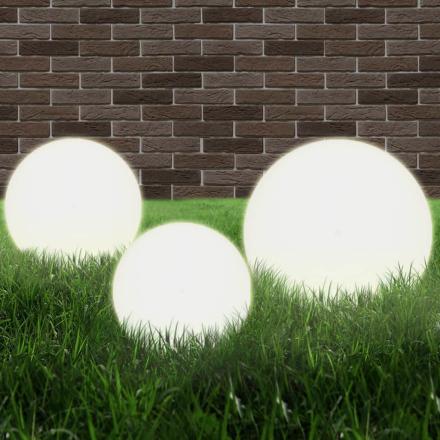 vidaXL LED-kuglelampesæt 3 dele kugleformet 20/30/40 cm PMMA