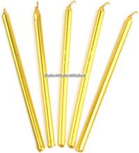 Guldfärgade smala ljus - 12 st