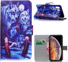 iPhone Xs Max beskyttelses deksel av syntetisk skinn med printet mønster - drømme fanger og ulver