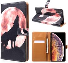 iPhone Xs Max beskyttelses deksel av syntetisk skinn med printet mønster - ulv uler til månen