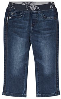 Emporio Armani Mid Wash Pull Up Jeans Blue 9 months