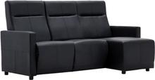 vidaXL Soffa med justerbart ryggstöd L-formad konstläder svart