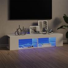 TV-benk med LED-lys 135x39x30 cm - høyglans hvit