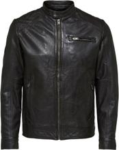 SELECTED Lamb - Leather Jacket Men Brown