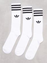 Adidas Originals Solid Crew Sock 3 Pack Sukat White/Black