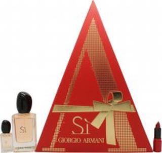 Giorgio Armani Si Presentset 50ml EDP + 7.5ml EDP + 1.5ml Armani Rouge Ecstasy Läppstift