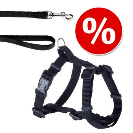 Hunter sett: Sele + Hundebånd Ecco Sport Vario Rapid Svart - Hundesele M + Hundebånd 200 cm / 15 mm
