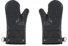 Grillvantar Ziczac svart läderimitation