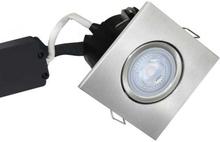 Nordtronic Master Uni Install 63 Firkantet Indbygningsspot med indbygget dæmper 5W/830 LED GU10, Børstet stål