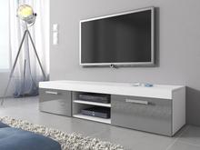 MAMBO TV-ställ TV-Bänk 140 cm matt ram Vit / Framsida Grå Högglans