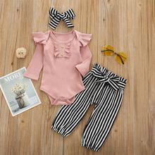 3PCs Baby Flying Sleeves Tops + gestreifte Druckhose Set für 6-24M