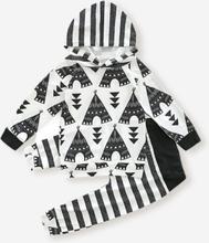 Baby Cartoon Striped Print Kapuzen-Set für 6-24M