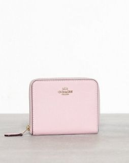 Coach Crossgrain Leather Small Zip Around Wallet Rosa