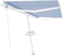 Automatisk markis med vindsensor & LED 450x350 cm blå och vit