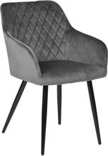 Carlo - Grå velour stol med armlæn - mindre fejl (OU00004)