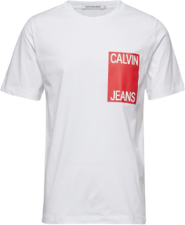 Calvin Jeans Box Chest Reg Ss T-shirt Hvid Calvin Klein Jeans