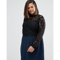 Junarose Plus Tiva Dress With Lace Top - Navy