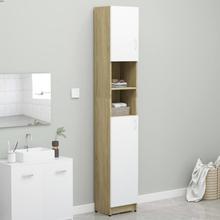 Badeværelsesskab 32x25,5x190 cm spånplade hvid og sonoma-eg