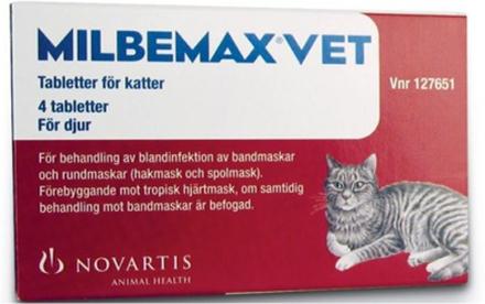 Milbemax vet. för katter, filmdragerad tablett 4 st