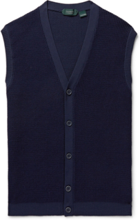 Slim-fit Waffle-knit Sweater Vest - Navy