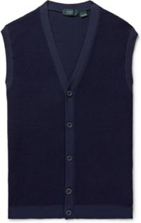 Slim-fit Waffle-knit Sweater Vest - Navy