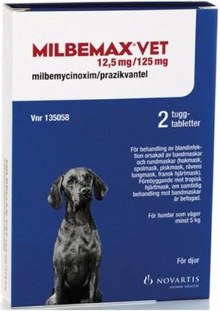 Milbemax vet., tuggtablett 12,5 mg/125 mg 2 st