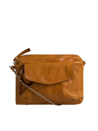 PIECES Leather Crossbody Bag Women Brown