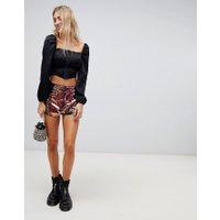 Wild Honey - Mörka shorts med hög midja och paljetter - Mångpaljetterad