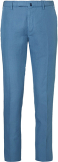 Slim-fit Garment-dyed Linen And Cotton-blend Trousers - Blue
