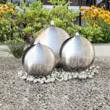 vidaXL Sfäriska trädgårdsfontäner 3 st med LEDs rostfritt stål