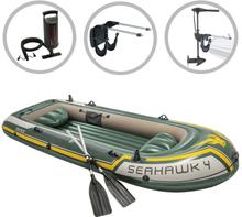 vidaXL Intex Uppblåsbar båt Seahawk 2 med båtmotor och fäste