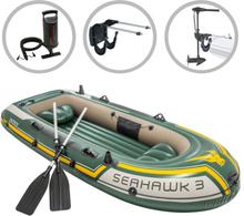 vidaXL Intex Uppblåsbar båt Seahawk 3 med båtmotor och fäste