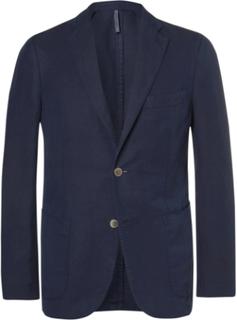 Unstructured Linen And Cotton-blend Blazer - Navy