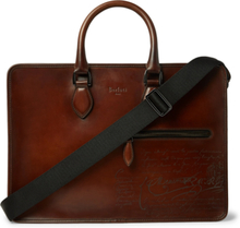 Un Jour Scritto Leather Briefcase - Brown