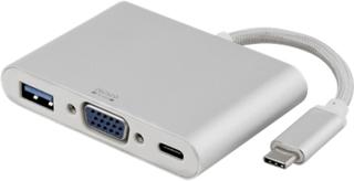 USB-C till VGA och USB A adapter, USB-C port för laddning