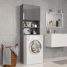 vidaXL vaskemaskineskab højglans 64 x 25,5 x 190 cm spånplade grå