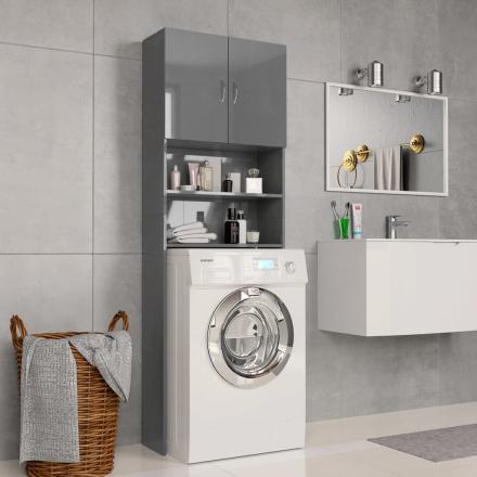 vidaXL Tvättmaskinsskåp grå högglans 64x25,5x190 cm spånskiva