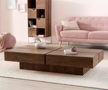 DELIFE Salontafel Loca 140x70 cm acacia bruin schaduwvoeg massief hout