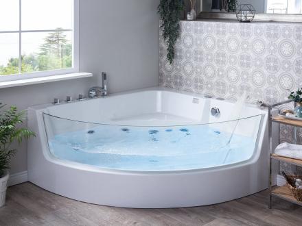Hjørnebadekar med Massage Hvid Marina
