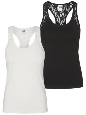 VERO MODA 2 Pack Lace Sleeveless Top Women White